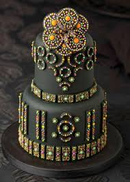 2 tier black cake with shiny and colorful beads jpg cakes n