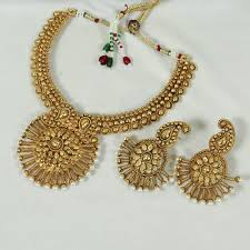 necklace pendant designs gold images Buy beads broad pendant design gold necklace set with jhumka jpg