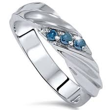 mens white gold wedding rings 1 10ct treated blue diamond mens three wedding ring 14k