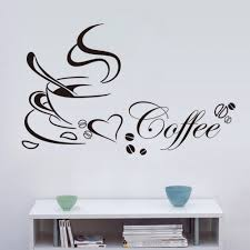creative coffee cup love heart quotes music wall stickers bedroom