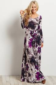 maxi dress with sleeves purple floral print sleeve maxi dress
