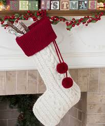 knit cable stocking knitting pattern red heart