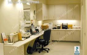 Office Front Desk Modular Office Casework Movable Millwork Storage Cabinets Photos