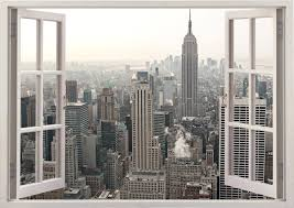 New York City Home Decor New York Wall Sticker 3d Window New York Wall Decal Ny For