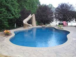 Backyard Pool With Slide Pool With Slide In Bel Air Maryland Tri County Unlimited