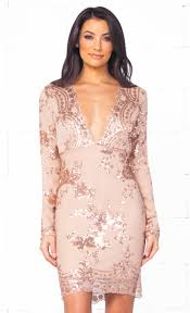 plunge dress xo glowing nights beige gold sequin floral sleeve