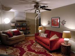 Ceiling Fan For Living Room by Living Room Decor With Red Suede Love Seat Under Ceiling Fan