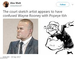 wayne rooney mocked for court sketch daily mail online