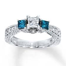 blue diamond wedding rings blue diamond ring 1 carat tw princess cut 14k white gold