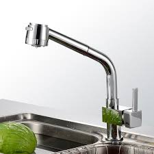 new chrome pull out kitchen faucet square brass kitchen mixer sink chrome pull out single handle polished chrome solid brass