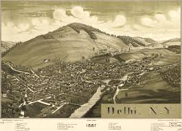 Old Boston Map by Burleigh U0027s Birdseye View Of Delhi New York 1887
