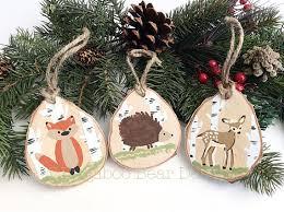 hedgehog ornament wood slice ornament by bugaboobeardesigns