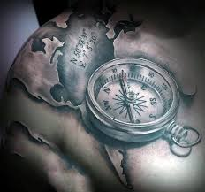map and compass shoulder tattoo pictures to pin on pinterest