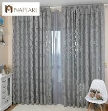Grey Curtains For Bedroom Modern Decorative Curtains Jacquard Gray Curtains Window Curtain
