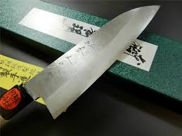 japanese kitchen knife ginsanko steel santoku 165mm tanaka knive photo2 japanese kitchen knife ginsanko steel santoku 165mm tanaka knive hou wood handle