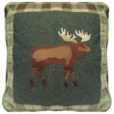 green embroidered moose pillow