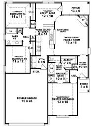 Single Story House Plans With 2 Master Suites Simple Three Bedroom House Plans 3231