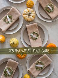 making thanksgiving cards rosemary wreath place cards diy spoon fork bacon