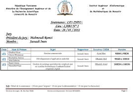 pointage bureau d emploi kef soutenance lf3 info lieu labo n 2 date 28 05 2012 jury