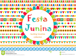 International Bunting Flags Festa Junina Patterned Set Of Brushes Bunting Flags Festive