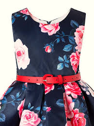 kids u0027s flower printing sleeveless red belted fluffy casual