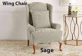 damask chair chair slipcover in stretch jacquard damask
