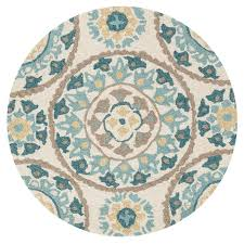 Brown Round Rugs Ivory And Aqua Layla Medallion Round Rug 3x3 Ft At Home At Home