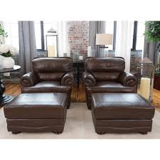Brown Leather Accent Chair Set Of 2 Easton 2 Piece Set Top Grain Leather Accent Chair And Ottoman In