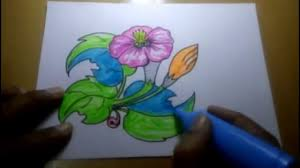 free hand sketch with colour flowers youtube
