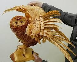 cedar wood sculpture layers of cedar wood chips form realistic siberian wildlife