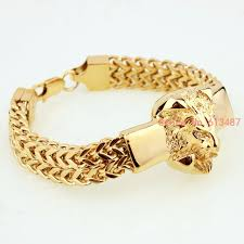 stainless steel mens bangle bracelet images Free shipping gold lion head 316l stainless steel fashion figaro jpg