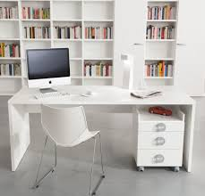 cool white themes small home office with white hardwood computer