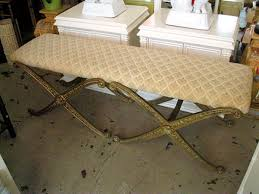 upholstered double x bench circa who
