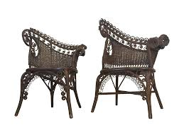 antique wicker photographer u0027s chairs a pair chairish