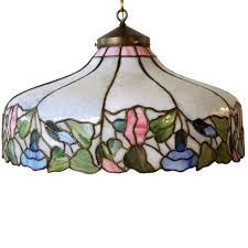 Stained Glass Pendant Light Antique American Nouveau Copper Foil Leaded And Stained Glass