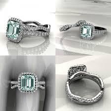 aquamarine wedding aquamarine halo engagement ring with matching band wedding set