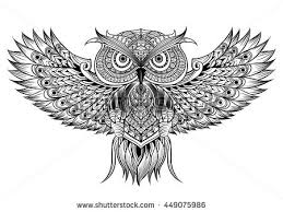 Patterned Flying Owl Drawing Illustration Vector Owl Black White Stock Vector Hd Royalty Free