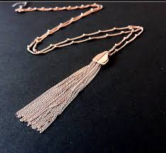 gold tassel necklace images Rose gold tassel necklace layered necklaces by marciahdesigns jpg