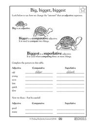 3rd grade writing worksheets big bigger biggest 3rd grade