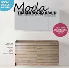 White Wood Grain Moda 1500mm White Oak Timber Wood Grain Floor Standing Bathroom