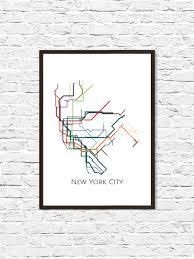 Nyc Subway Map Poster by New York City New York Metro Map Nyc Subway Map Transit