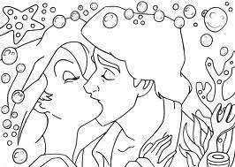ariel eric making vow coloring cartoon pages