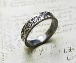 celtic wedding waves and arches engraved ring 14k white gold celtic