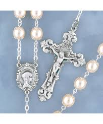 pearl rosary capped sterling silver pearl rosary