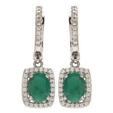 emerald drop earrings sterling silver emerald drop earrings with cz s ebth