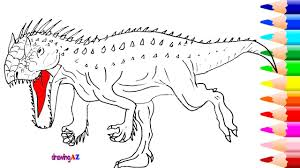 drawing and coloring indominus rex dinosaur and indominus rex