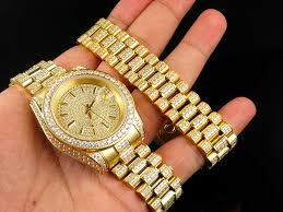 mens watches with bracelet images Mens 18k yellow gold finish stainless steel presidential watch jpg