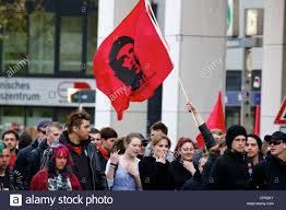 Red Flag Day Red Che Guevara Flag Being Flown At The May Day Demonstration In