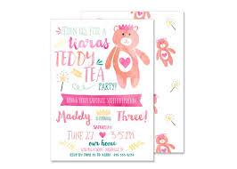princess bear birthday invitation digital file stuffed animal tea