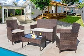 Wicker Outdoor Patio Furniture Homall 4 Pc Wicker Outdoor Patio Furniture Set Rattan Sofa Outdoor